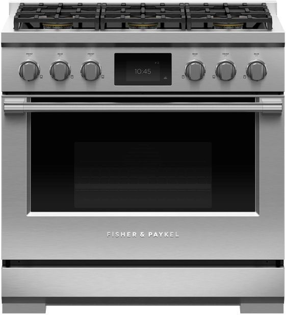 """Fisher & Paykel Series 9 36"""" Stainless Steel with Black Glass Pro Style Dual Fuel Range-RDV3-366-L"""