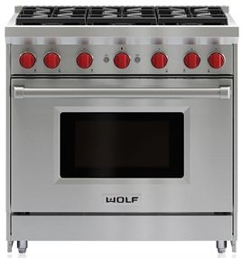 """Wolf® 36"""" Pro Style Gas Range-Stainless Steel-GR366"""