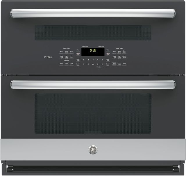 """GE Profile™ 29.75"""" Stainless Steel Built-In Twin Flex Convection Wall Oven-PT9200SLSS"""