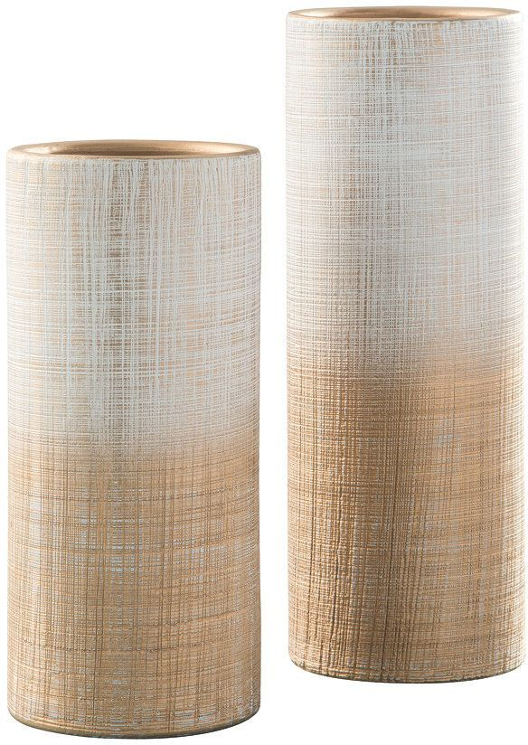 Signature Design by Ashley® Dorotea Gold Finish and White Vases (Set of 2)-A2000129