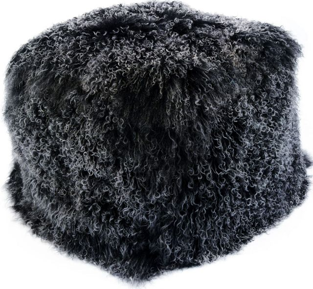 Moe's Home Collections Lamb Black Snow Fur Pouf-XU-1009-02