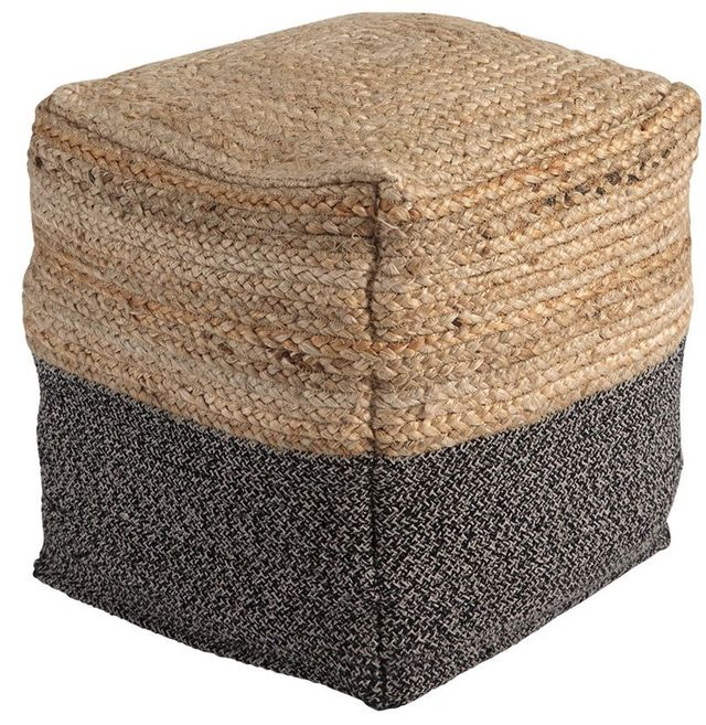 Signature Design by Ashley® Sweed Valley Natural/Black Pouf-A1000422