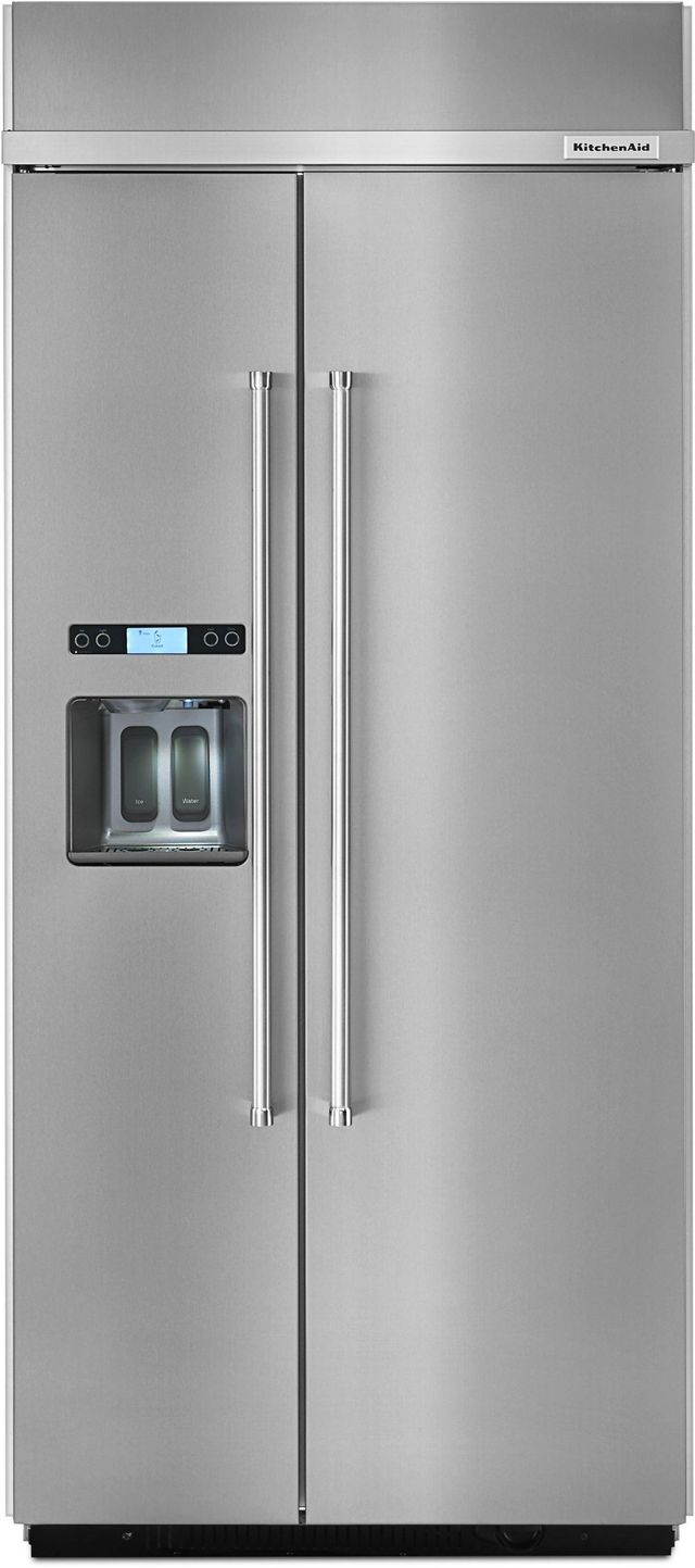 KitchenAid® 20.8 Cu. Ft. Stainless Steel with PrintShield™ Finish Built In Side-By-Side Refrigerator-KBSD606ESS
