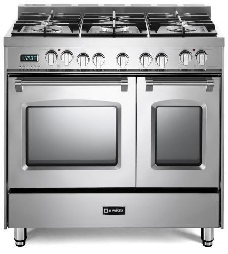 """Verona Prestige Series 36"""" Stainless Steel Free Standing Dual Fuel Double Range-VPFSGE365DSS"""