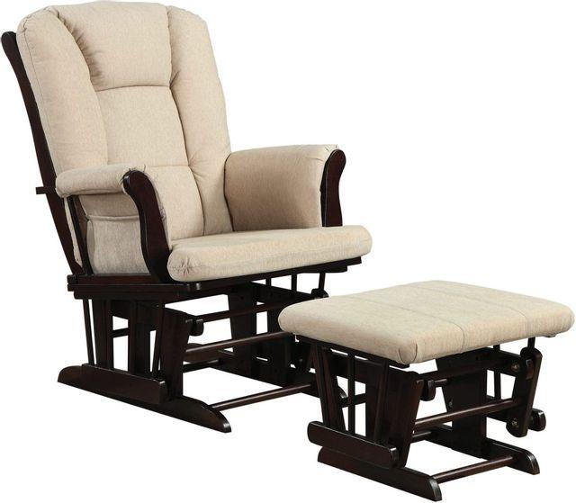 Coaster® 2 Piece Beige Espresso Glider Rocker Set-650011