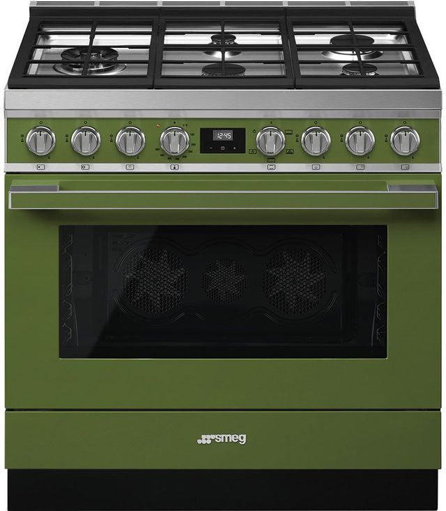 "Smeg Portofino Aesthetic 36"" Olive Green Pro Style Gas Range-CPF36UGGOG"