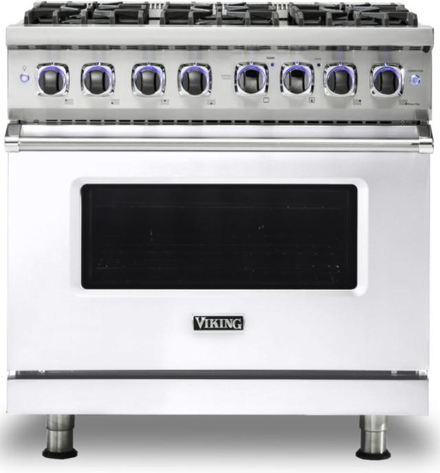 "Viking® 7 Series 36"" White Pro Style Dual Fuel Range-VDR73626BWH"