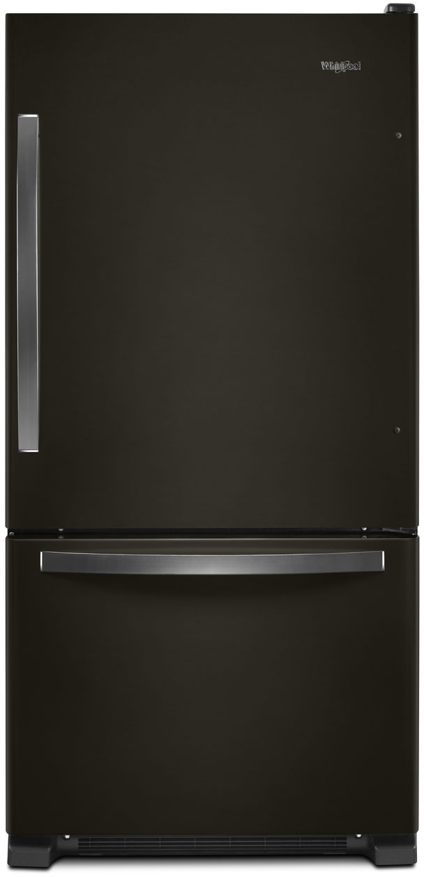 Whirlpool® 22.1 Cu. Ft. Bottom Freezer Refrigerator-Black Stainless Steel-WRB322DMHV