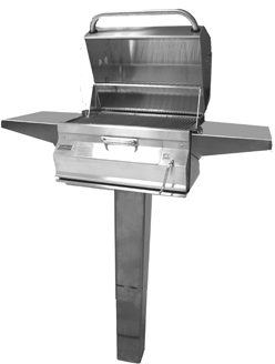 Fire Magic® Charcoal Collection 22 Series Patio Post Mount Grill-Stainless Steel-22-SC01C-P6
