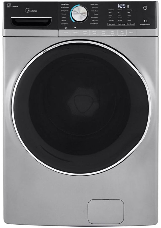 Midea® 5.2 Cu. Ft. Graphite Silver Front Load Washer-MLH52S7AGS