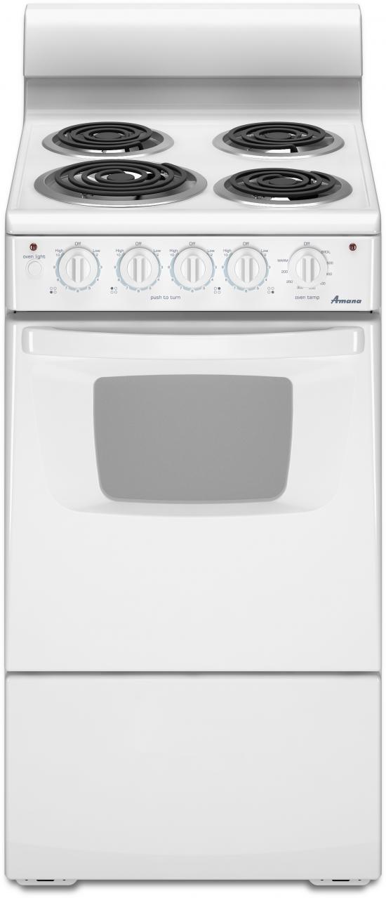 "Amana® 20"" White Free Standing Electric Range-AEP222VAW"