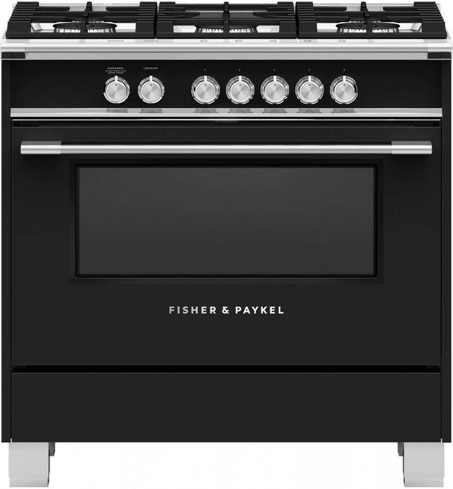 "Fisher Paykel 36"" Free Standing Gas Range-Black-OR36SCG4B1"