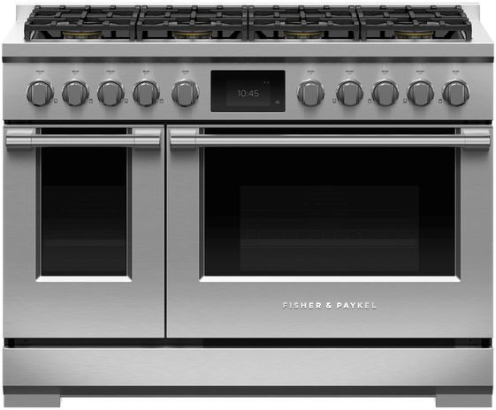 """Fisher & Paykel Series 9 48"""" Stainless Steel with Black Glass Pro Style Dual Fuel Range-RDV3-488-L"""
