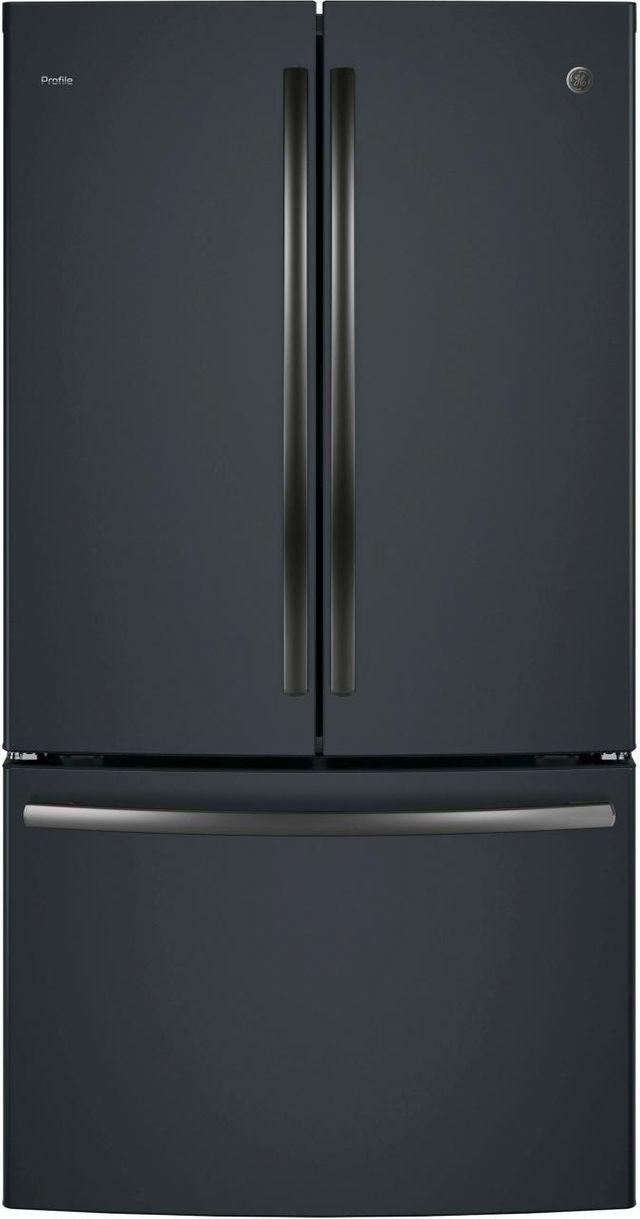 GE Profile™ 23.09 Cu. Ft. Black Slate Counter Depth French Door Refrigerator-PWE23KELDS