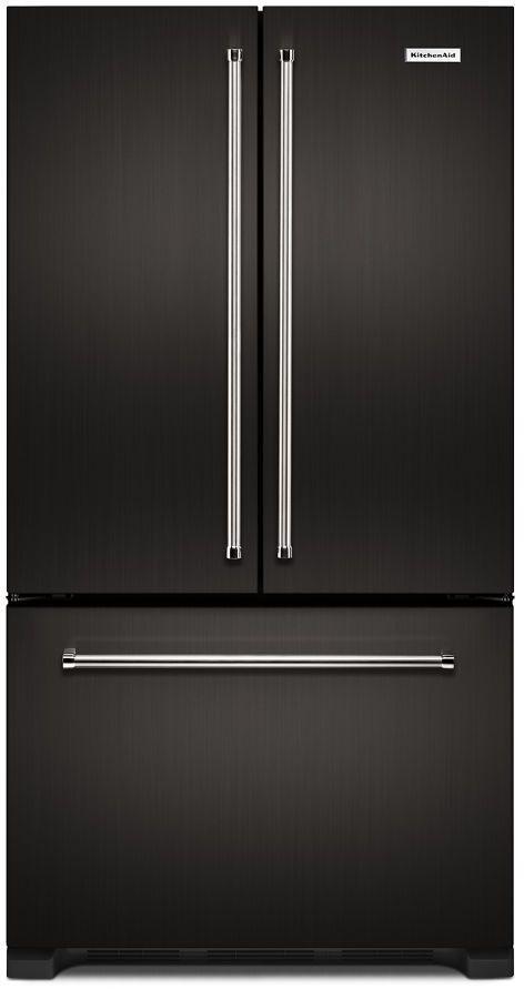 KitchenAid® 21.94 Cu. Ft. Black Stainless Steel with PrintShield™ Finish Counter Depth French Door Refrigerator-KRFC302EBS