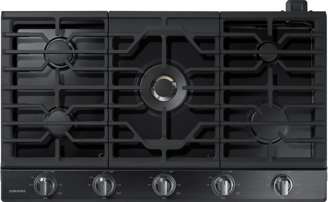 """Samsung 36"""" Gas Cooktop-Fingerprint Resistant Black Stainless Steel-NA36N7755TG"""