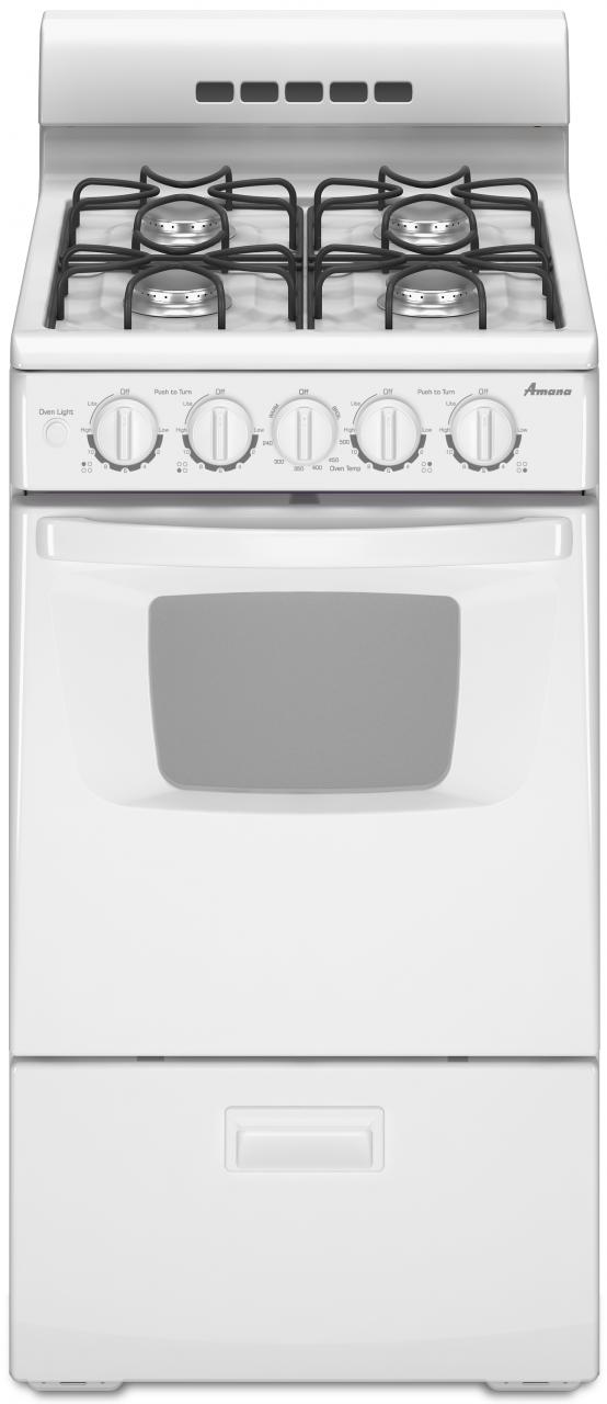 """Amana® 20"""" White Free Standing Gas Range-AGG222VDW"""