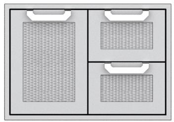 """Hestan Professional 30"""" Outdoor Double Drawer and Storage Door Combination-Stainless Steel-AGSDR30"""