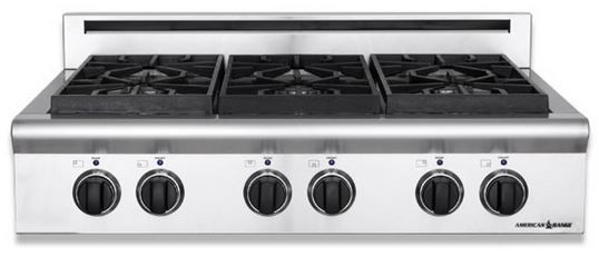 """American Range Legend Series 36"""" Pro-Style Gas Slide In Cooktop-ARSCT-364GD"""