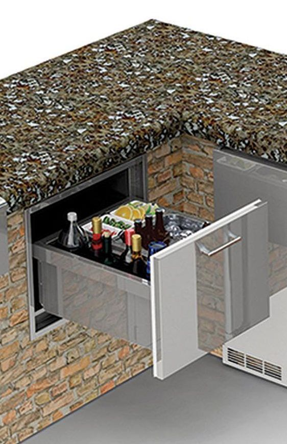 """Alfresco™ 26"""" Under Counter Ice Drawer & Beverage Center Insulated-Stainless Steel-AXE-ID"""