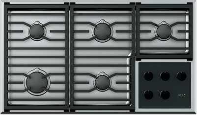 """Wolf® 36"""" Stainless Steel Transitional Gas Cooktop-CG365T/S/LP"""