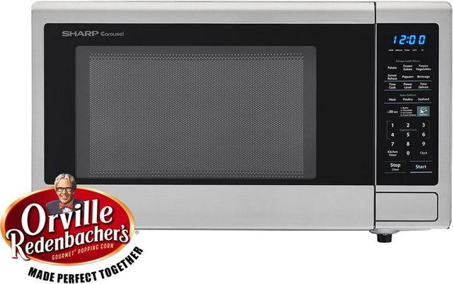 Sharp® Carousel® Countertop Microwave Oven-Stainless Steel-SMC1442CS