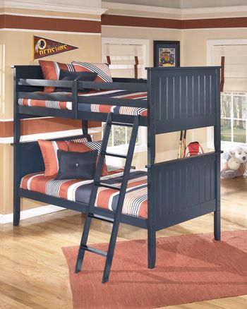 Signature Design By Ashley Leo Youth Twin Bunk Bed Rails And Ladder B103 59r Roby S Furniture Appliance