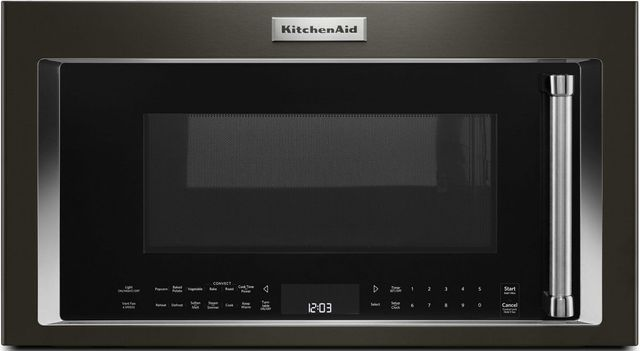 KitchenAid® 1.9 Cu. Ft. Black Stainless Steel with PrintShield™ Finish Over The Range Microwave Hood Combination-KMHC319EBS