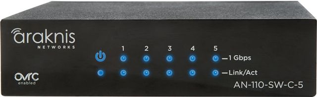 SnapAV Araknis Networks® 110 Series Black 5 Rear Ports Unmanaged+ Gigabit Switch with Compact Design-AN-110-SW-C-5