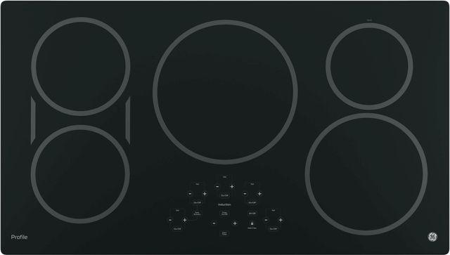 "GE Profile™ Series 36"" Black Induction Cooktop-PHP9036DJBB"