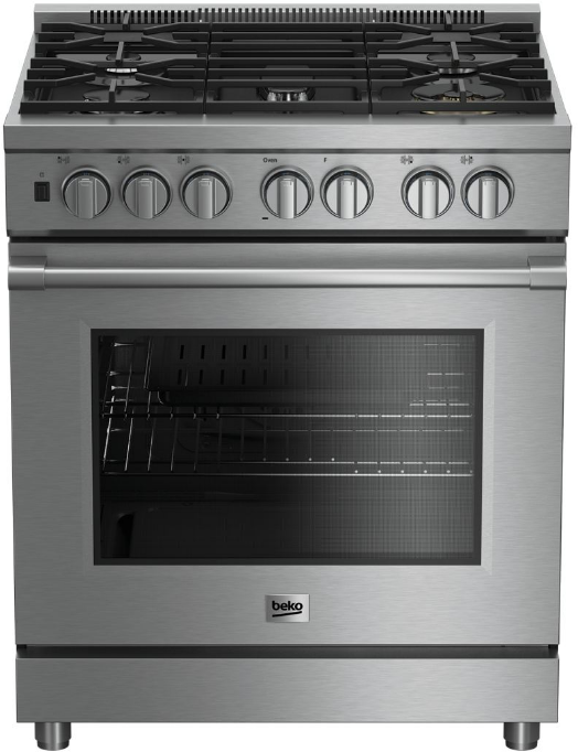 """Beko 30"""" Stainless Steel Pro Style Gas Range-PRGR34550SS"""