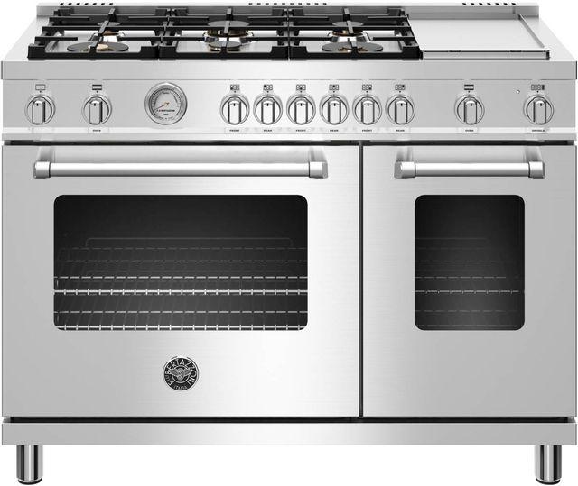 Cuisinière au gaz style Pro Bertazzoni® de 7,2 pi³ de 48 po - Acier inoxydable-MAST486GGASXT