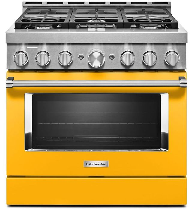 "KitchenAid® 36"" Yellow Pepper Smart Commercial-Style Gas Range-KFGC506JYP"