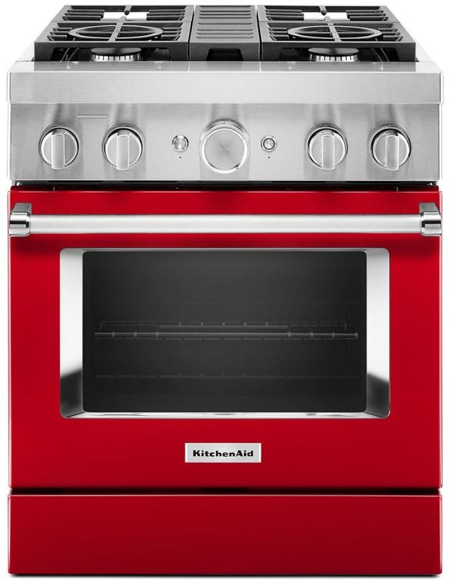 """KitchenAid® 30"""" Passion Red Commercial-Style Free Standing Dual Fuel Range-KFDC500JPA"""