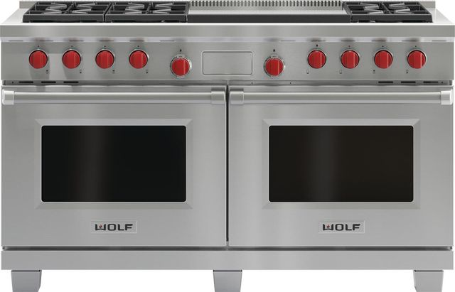 """Wolf® 60"""" Pro Style Dual Fuel Range-Stainless Steel-DF606DG"""