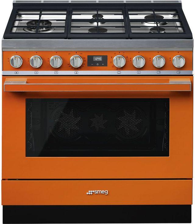 "Smeg 36"" Portofino Pro-Style Dual Fuel Range-Orange-CPF36UGMOR"