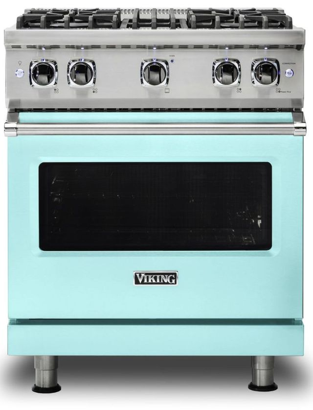 "Viking® 5 Series 30"" Bywater Blue Pro Style Natural Gas Range-VGR5304BBW"