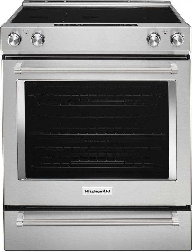 """KitchenAid® 30"""" Stainless Steel Slide In Electric Convection Range-KSEB900ESS"""