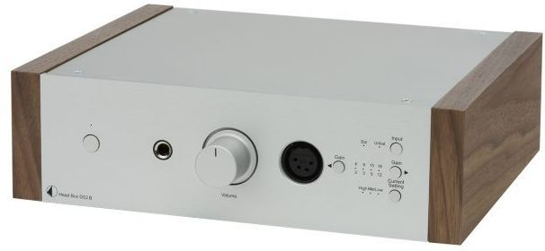 Pro-Ject DS2 Line Silver Fully Balanced High End Headphone Amplifier with Walnut Wooden Panels-Head Box DS2 B-SV-WL