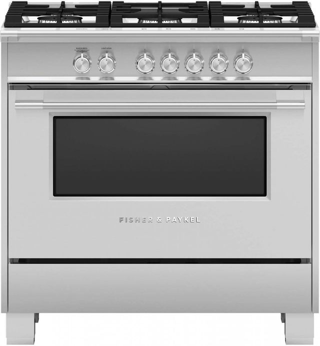 """Fisher Paykel 36"""" Brushed Stainless Steel with Black Glass Freestanding Gas Range-OR36SCG4X1"""