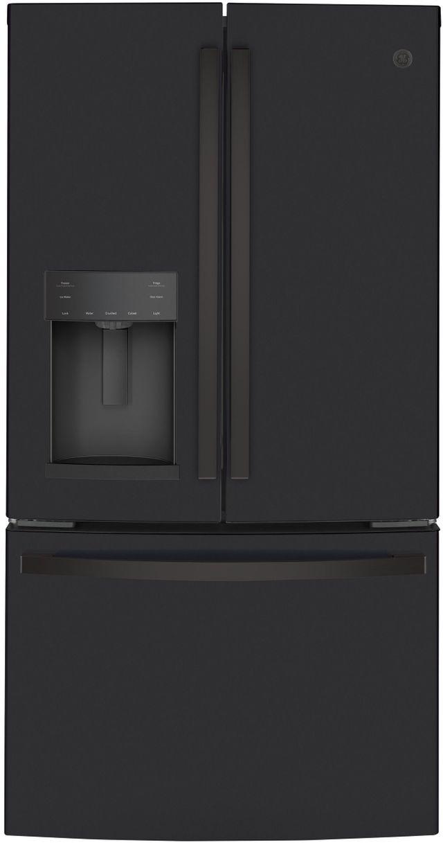 GE® 22.1 Cu. Ft. Black Slate Counter Depth French Door Refrigerator-GYE22GENDS