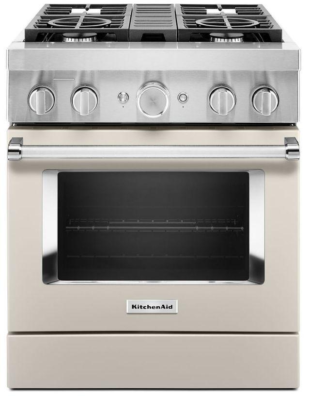"KitchenAid® 30"" Milkshake Commercial-Style Free Standing Dual Fuel Range-KFDC500JMH"