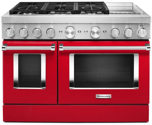 """KitchenAid® 48"""" Passion Red Commercial-Style Free Standing Dual Fuel Range with Griddle-KFDC558JPA"""