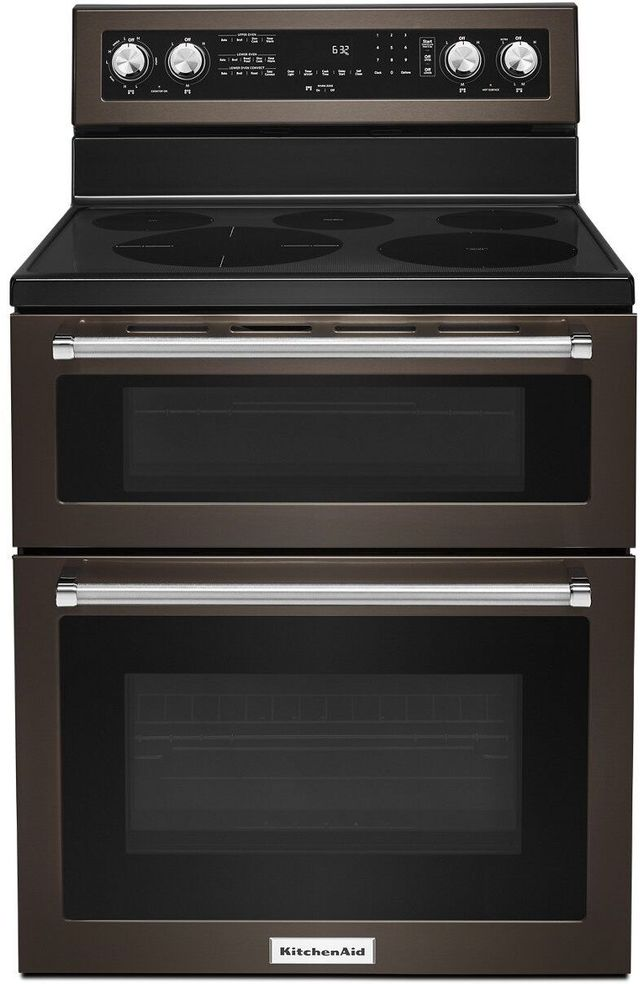 """KitchenAid® 30"""" Black Stainless Steel with PrintShield™ Finish Free Standing Electric Double Convection Range-KFED500EBS"""