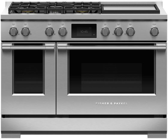 """Fisher & Paykel Series 9 48"""" Stainless Steel with Black Glass Pro Style Dual Fuel Range-RDV3-485GD-N"""