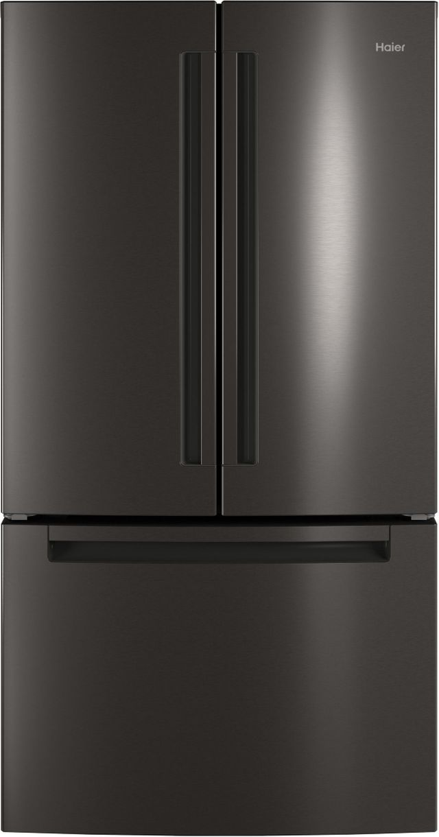 Haier 27.0 Cu. Ft. Black Stainless Steel French Door Refrigerator-QNE27JBMTS