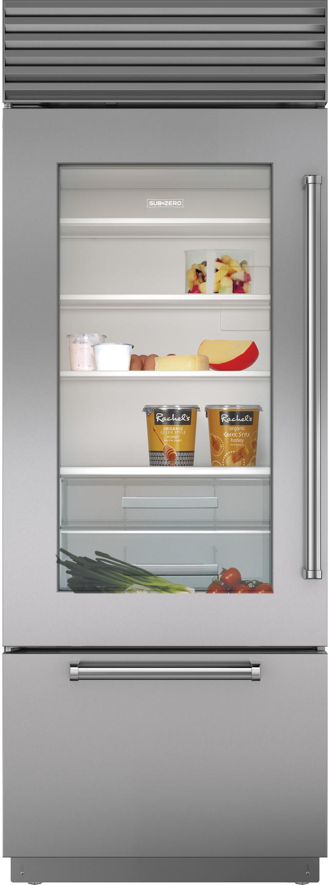 Sub-Zero® 17.3 Cu. Ft. Built In Bottom Freezer Refrigerator-Stainless Steel-BI-30UA/S/PH-LH