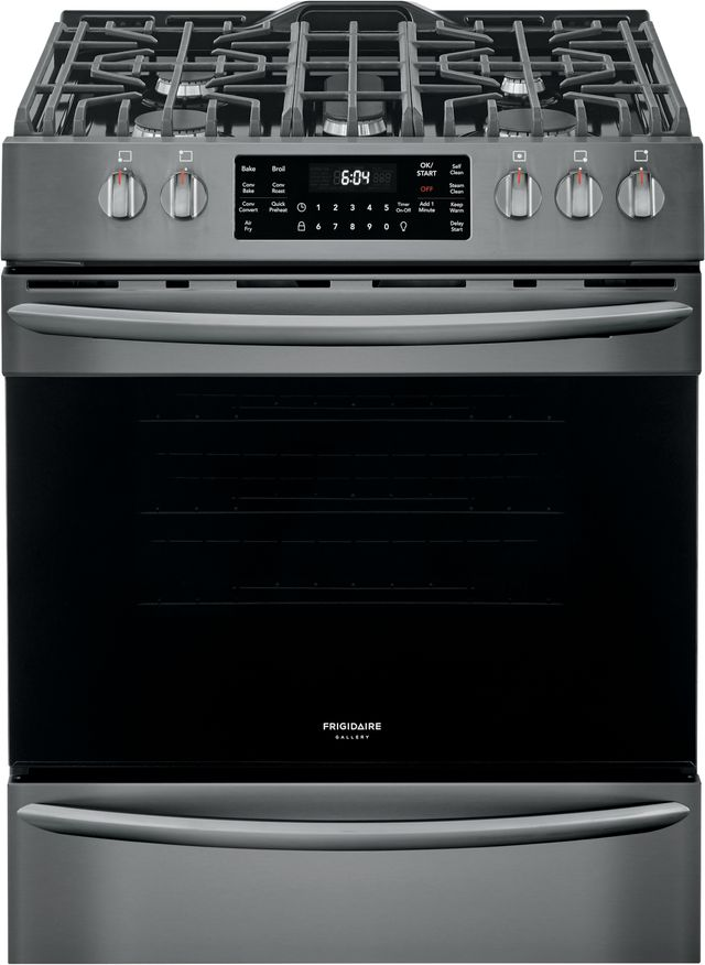 """Frigidaire Gallery® 30"""" Black Stainless Steel Free Standing Gas Range with Air Fry-FGGH3047VD"""