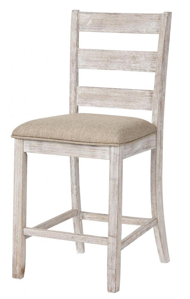 Signature Design by Ashley® Skempton White/Light Brown Upholstered Barstool-D394-124