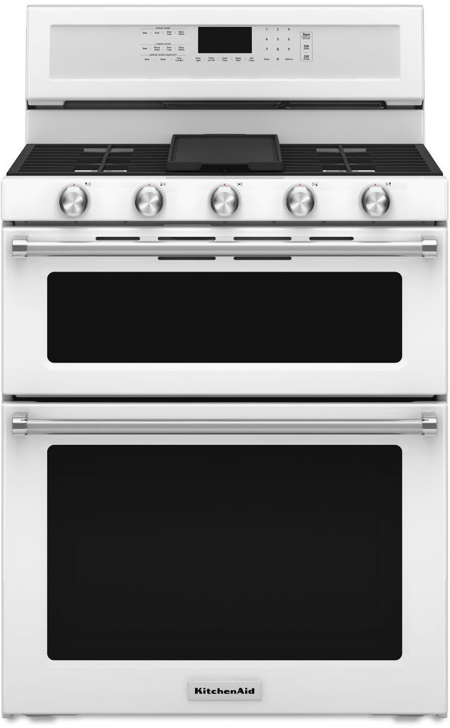 """KitchenAid® 30"""" White Free Standing Gas Double Oven Range-KFGD500EWH"""